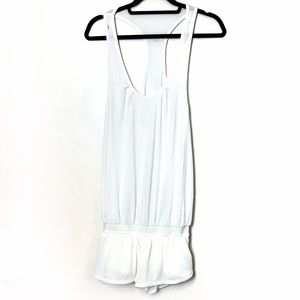 "Lululemon "" Sweat Your Butt Off"" White Romper"